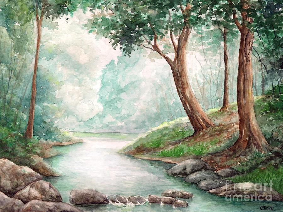 Landscape Painting - Landscape With River by Enaile D Siffert