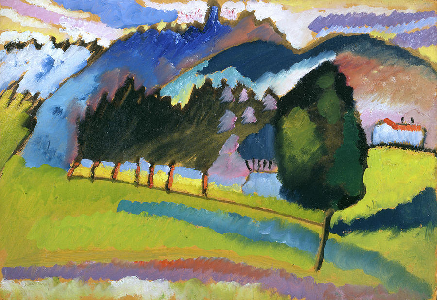 Landscape With Rolling Hills Painting by Wassily Kandinsky