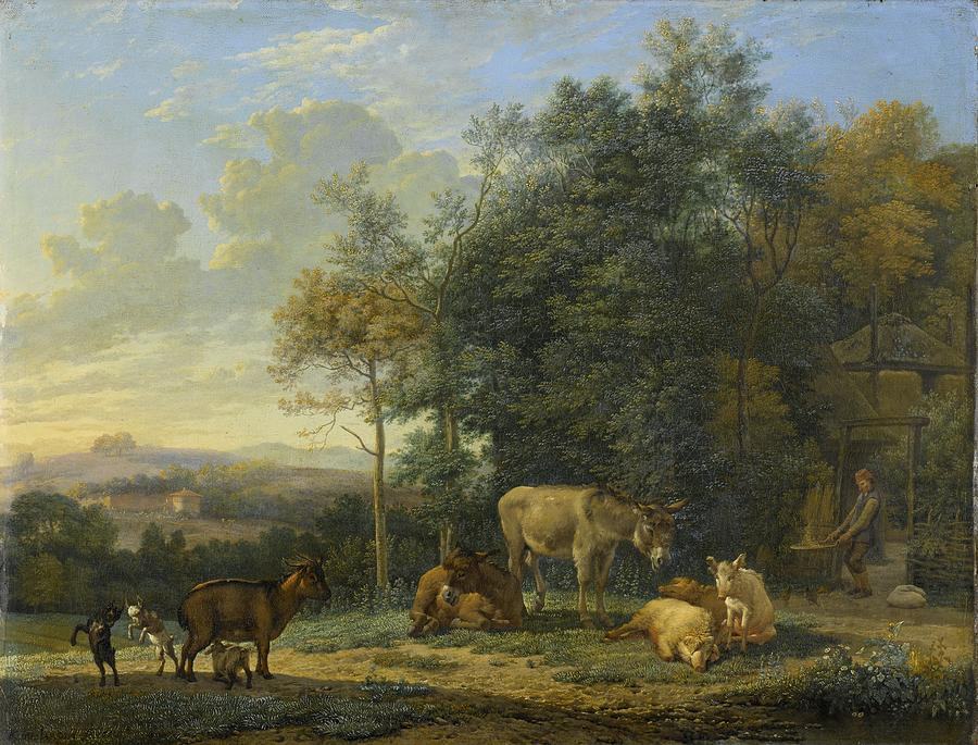 Landscape Painting - Landscape With Two Donkeys, Goats And Pigs by Karel Dujardin