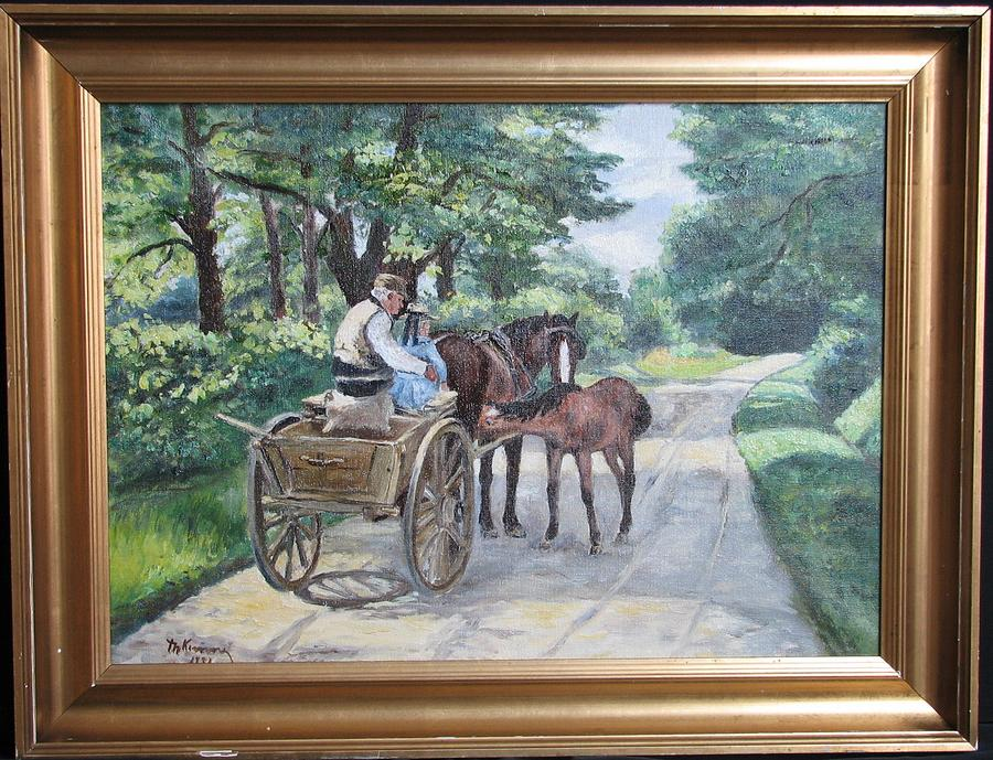 Landscape with Wagon Mare and Foal Painting by Illegible