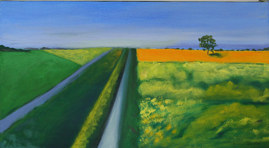 Landscape Painting - Landscape With Yellow Field by Victoria Sheridan