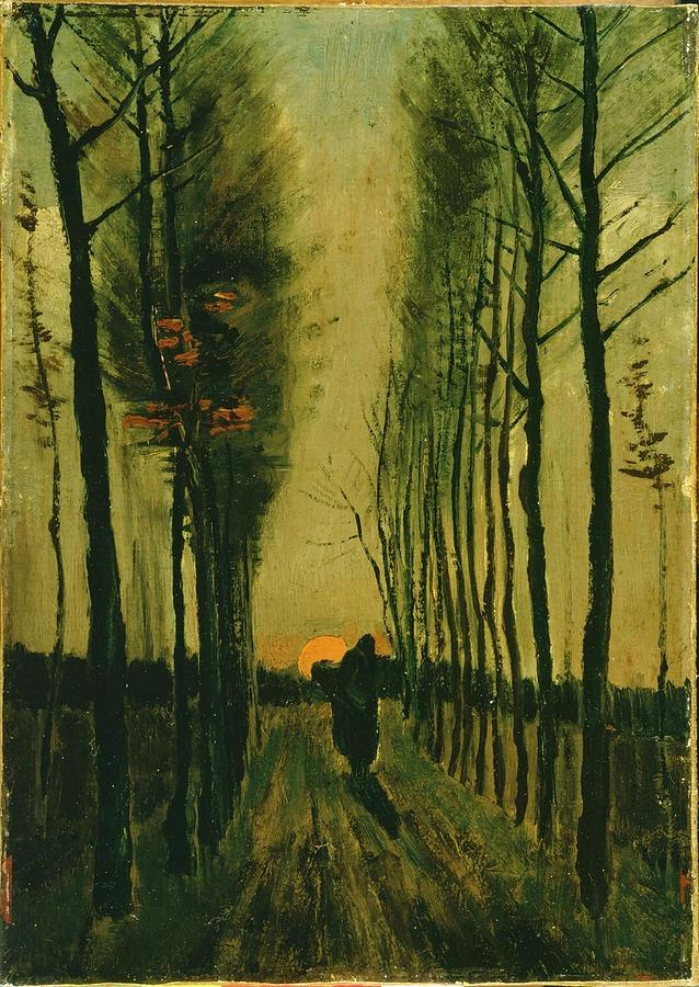 Van Gogh Painting - Lane Of Poplars At Sunset by Van Gogh