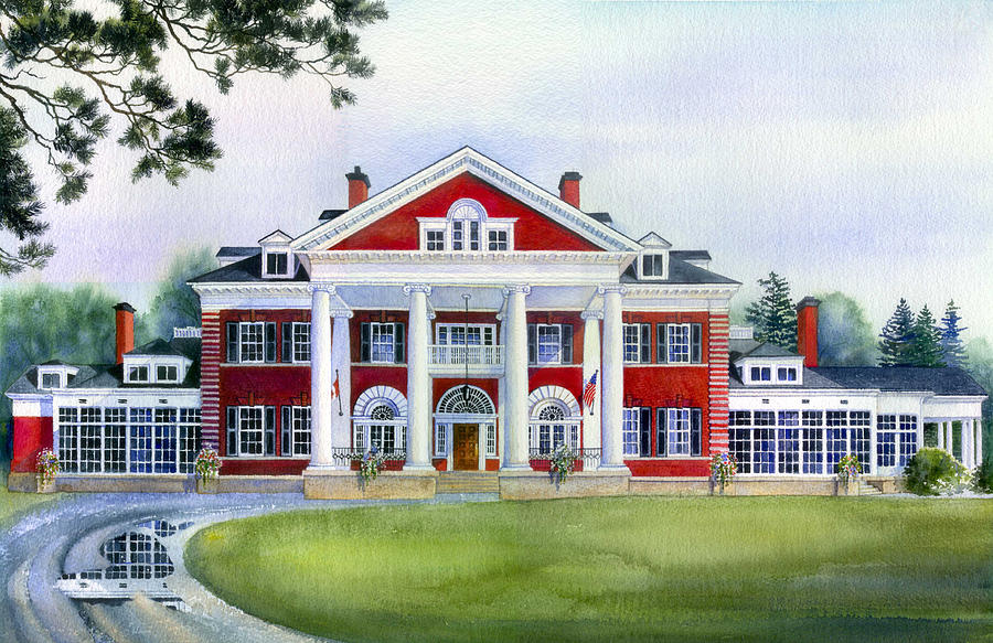 Cambridge Architecture Painting - Langdon Hall by Hanne Lore Koehler