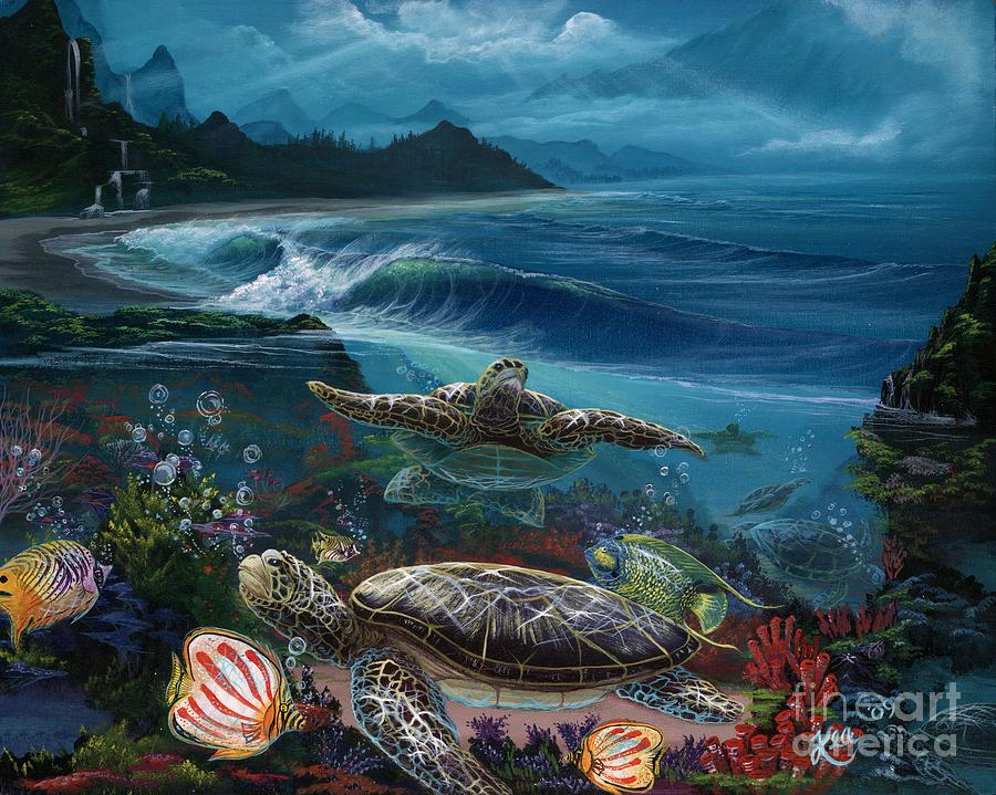 Turtle Painting - Laniakea Line Up by Kea Garcia