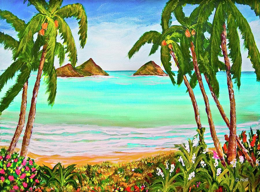 Beach Painting - Lanikai Beach Oahu Hawaii #358 by Donald k Hall