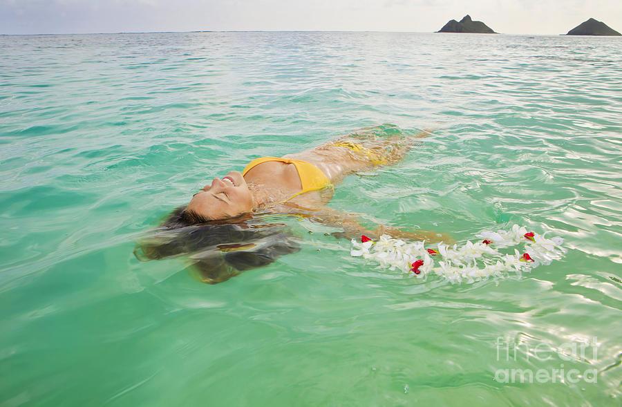 Bikini Photograph - Lanikai Floating Woman by Tomas del Amo - Printscapes