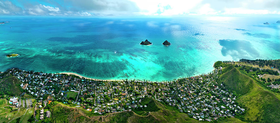 Helicopter Photograph - Lanikai over view by Sean Davey