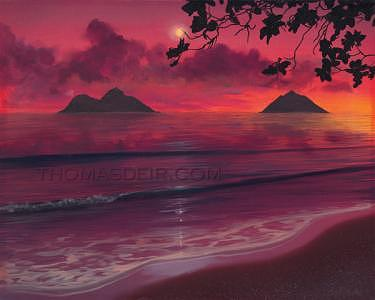 Sunrise Painting - Lanikai Sunrise by Thomas Deir