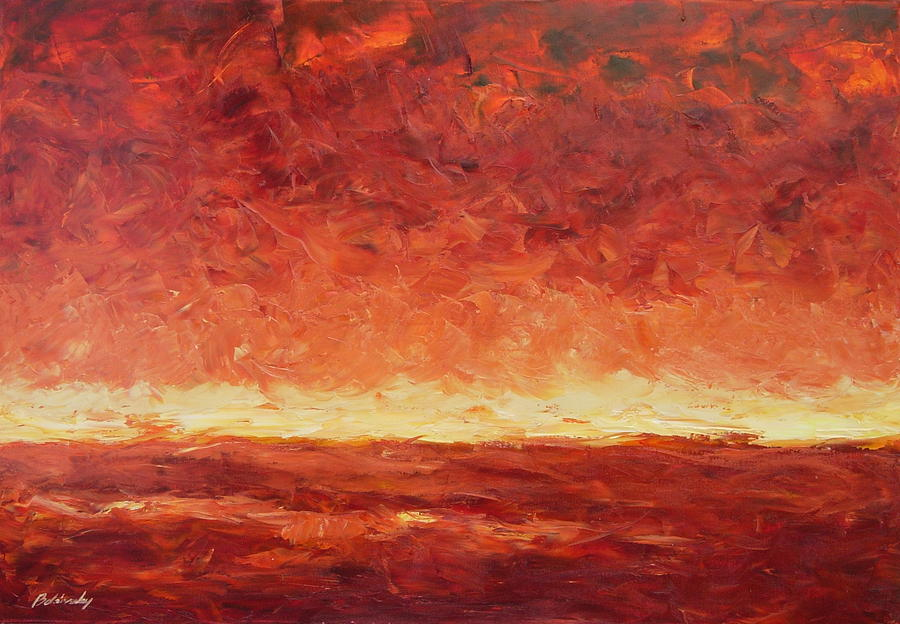 Lanscape Painting - Lanscape In Red by Beata Belanszky-Demko