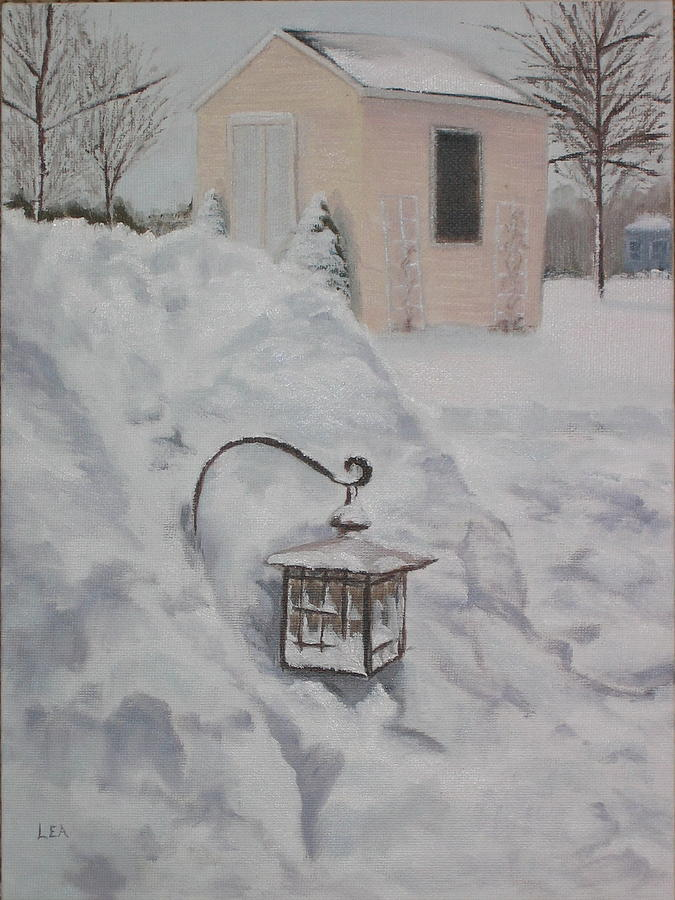 Snow Painting - Lantern in the Snow by Lea Novak