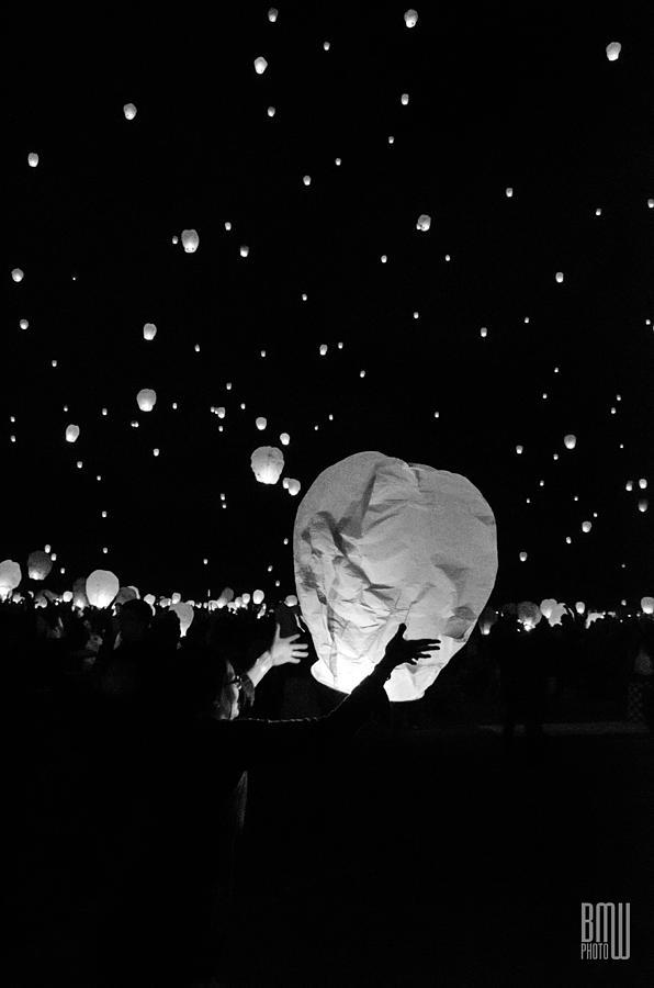 Lantern Photograph - Lantern Liftoff by Benjamin Weilert