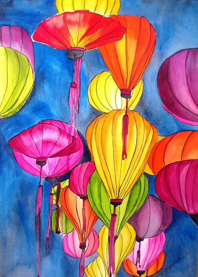 Lanterns Painting - Lanterns by Sacha Grossel