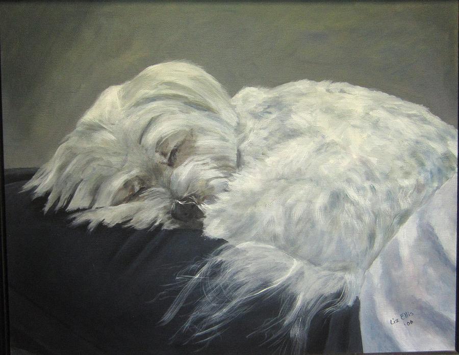 Maltese Dogs Painting - Lap Dog by Elizabeth Ellis