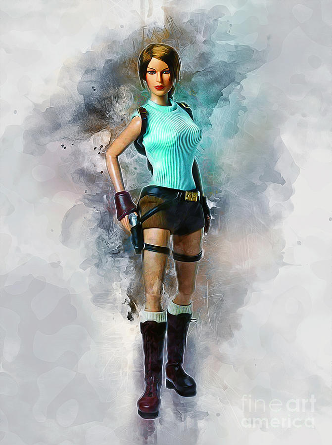 Raider Painting - Lara by Ian Mitchell