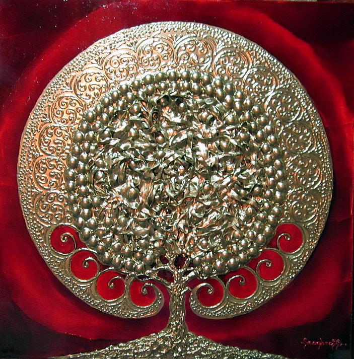 Gold Painting - Larbre De Vie  by Luminita Feodoroff
