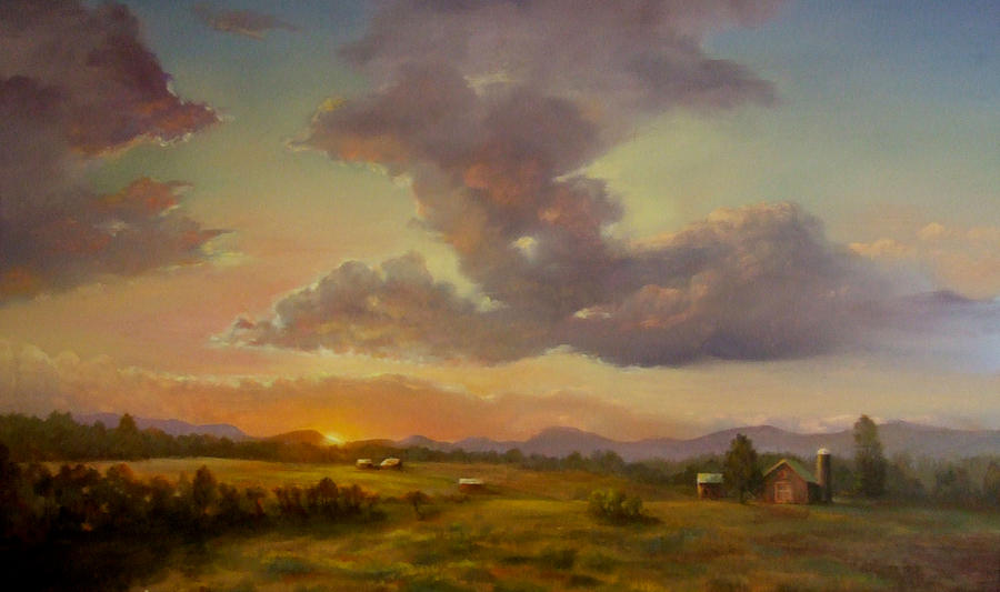 Landscape Painting - Larch Hill Sunset by Kevin Palfreyman