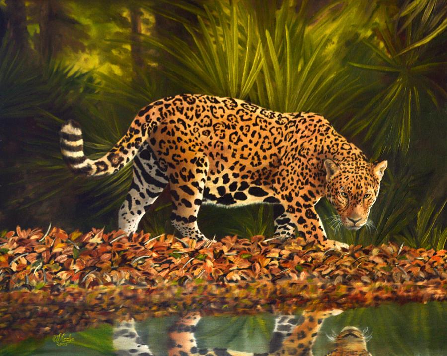 Large Jaguar Cat Painting By Vincent Keele