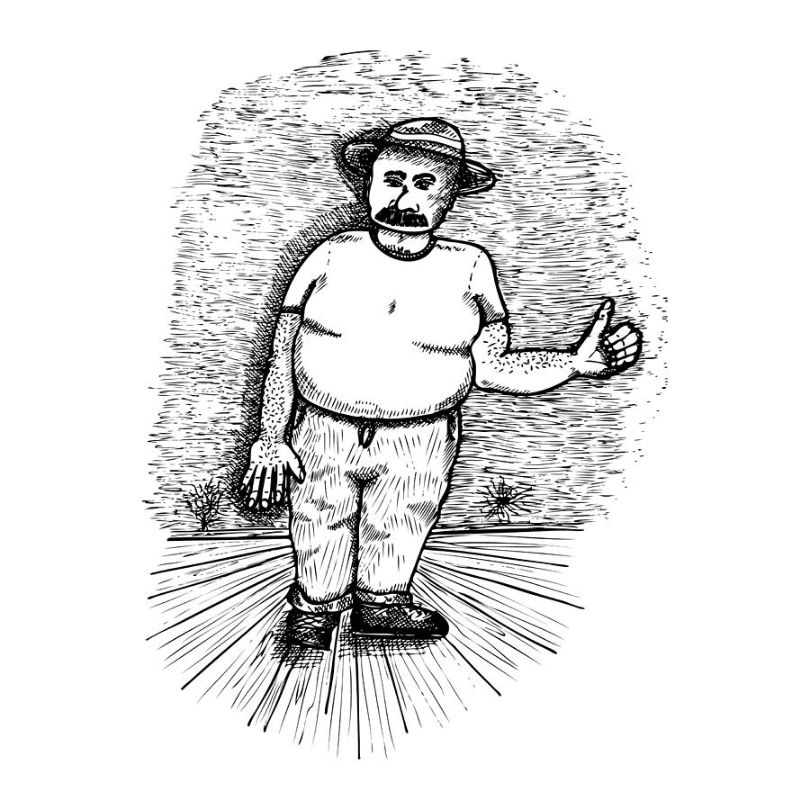 Drawing Drawing - Large Man by Karl Addison