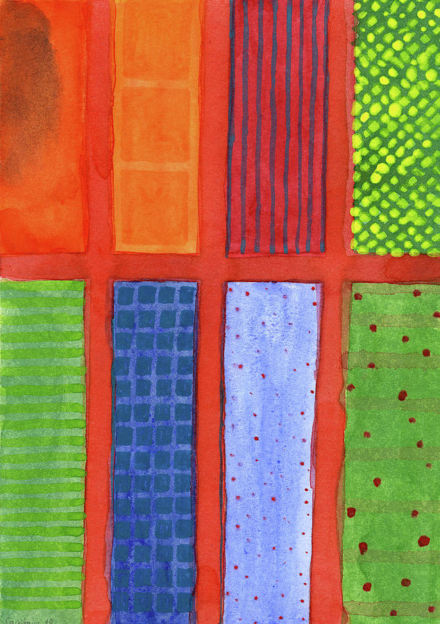 Large Painting - Large Rectangle Fields Between Red Grid  by Heidi Capitaine