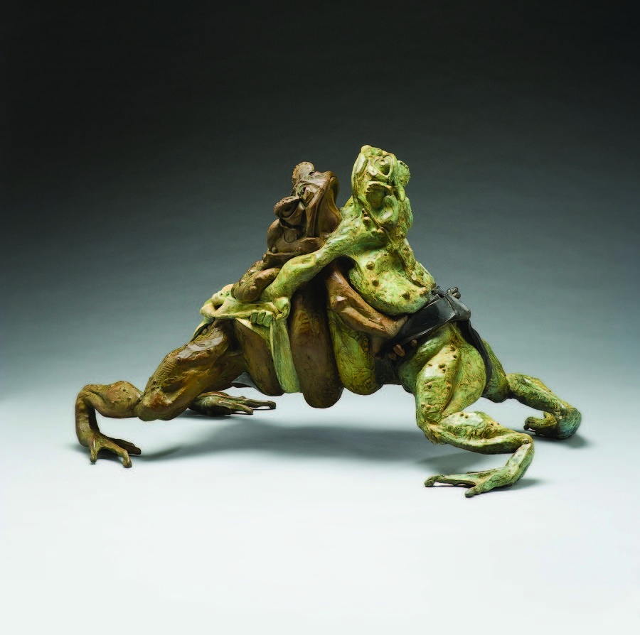 Sculpture Sculpture - Large Sumo Wrestling Toads by Steve Worthington