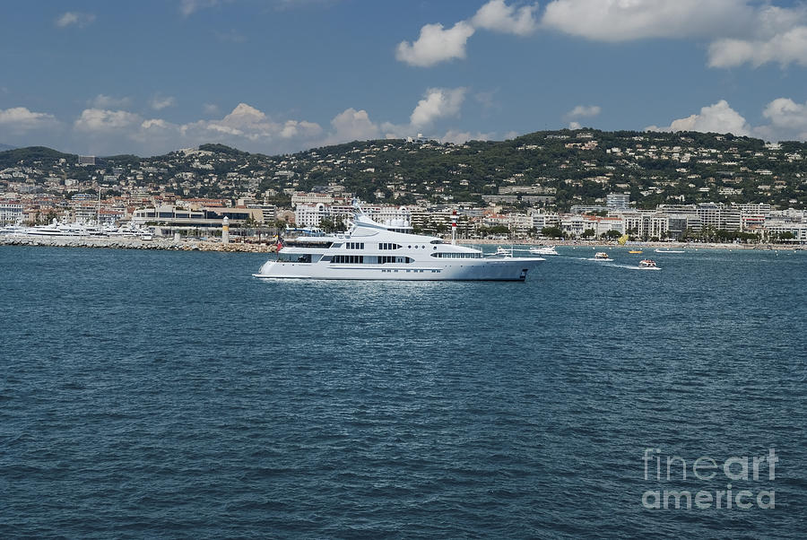 Yacht Photograph - Large Super Yacht Anchored At Monte Carlo by Dani Prints and Images