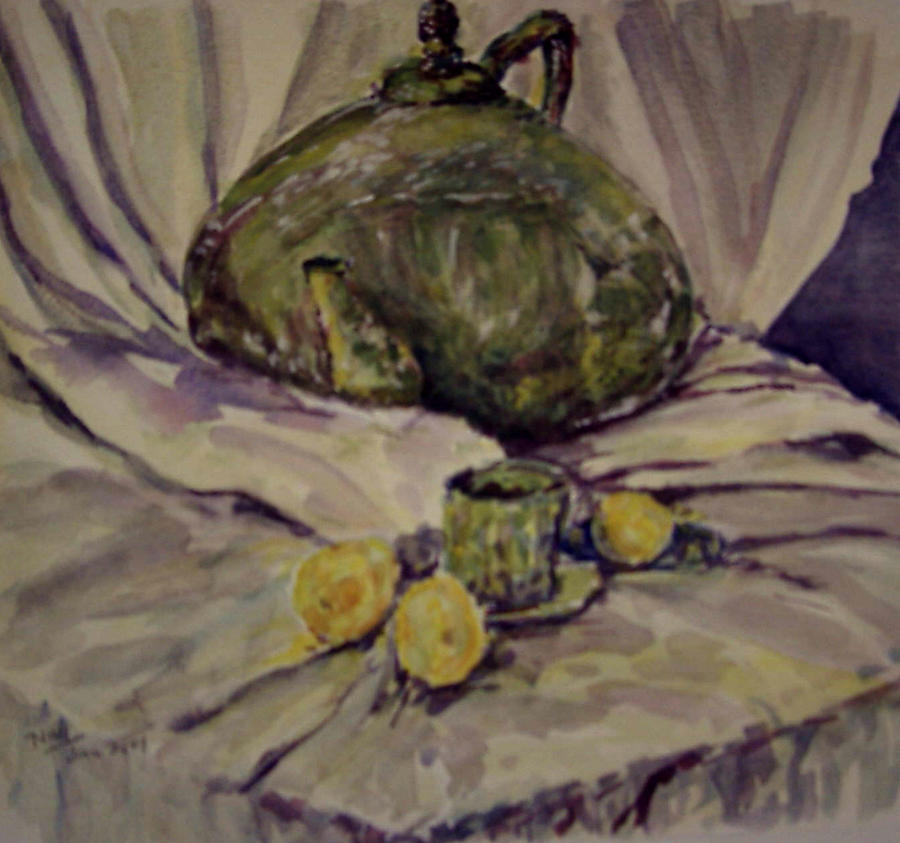 large tea pot with small cup by Naini Kumar