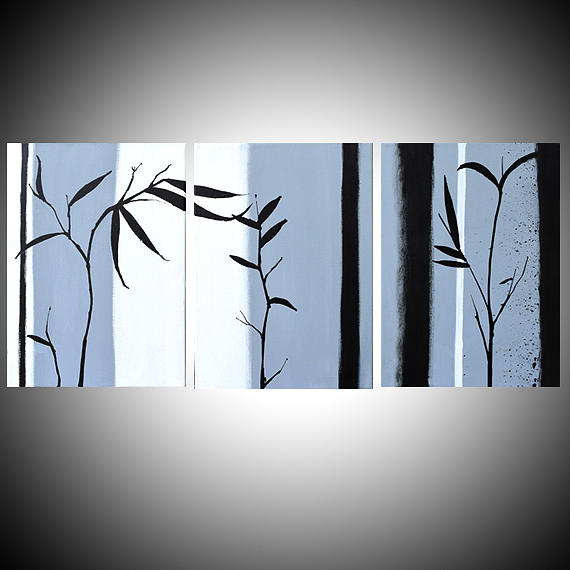 Black and white painting large wall art triptych hanging chinese painting bamboo art canvas art