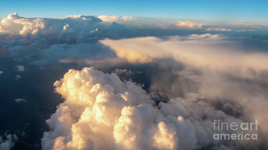 Aerial View Photograph - Large White Cloud From Passanger Airplace Window At Sunset by PorqueNo Studios