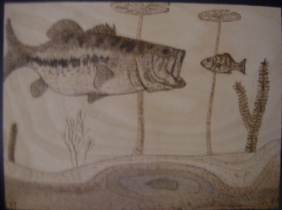 Bass Pyrography - Largemouth Lunch by Doug Crete