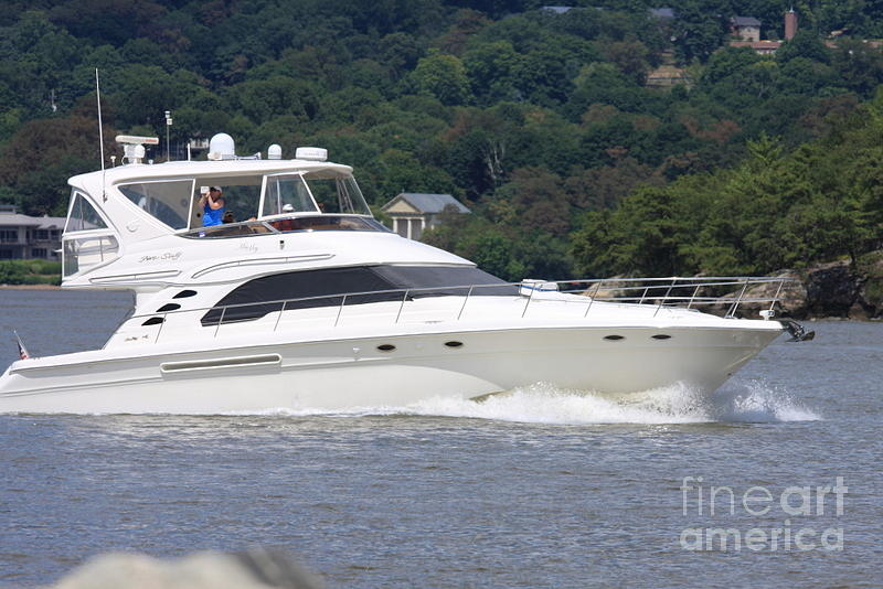 New York Photograph - Larger Boat On The Hudson River by William Rogers