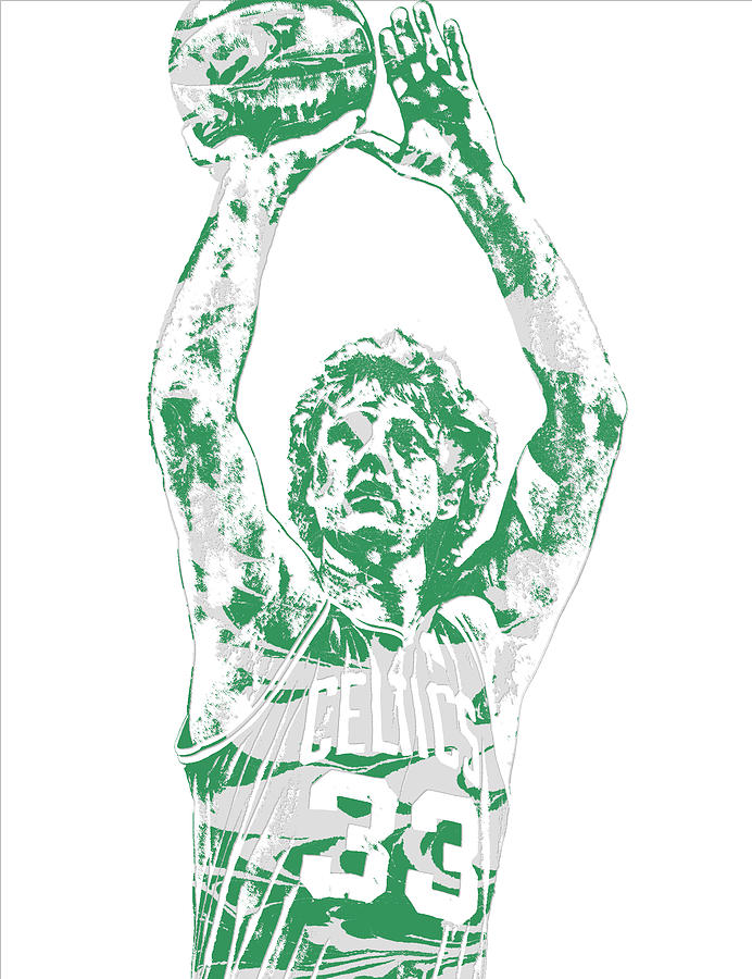 Larry Bird Mixed Media - Larry Bird Boston Celtics Pixel Art 5 by Joe Hamilton