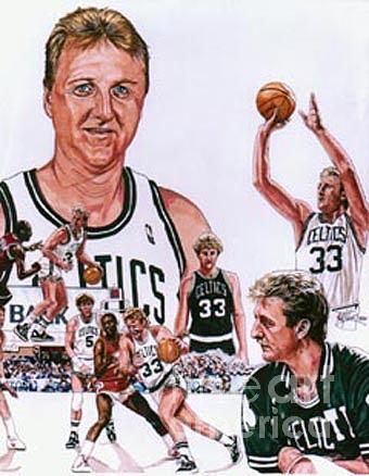 Nba Drawing - Larry Bird by Neal Portnoy