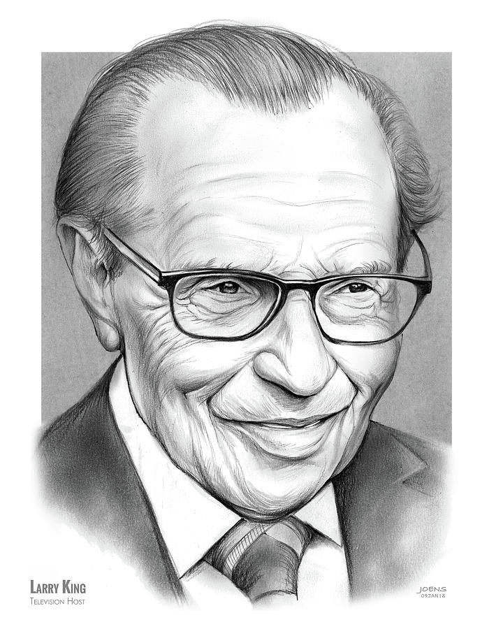 Larry King Drawing - Larry King by Greg Joens