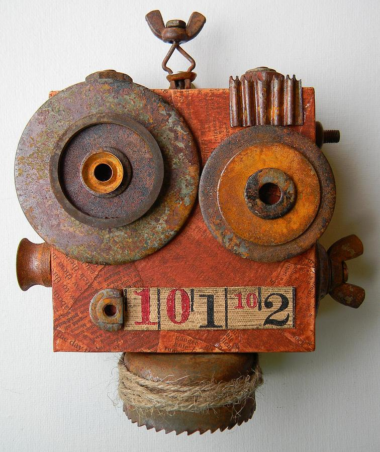 Robot Mixed Media - Larry The Robot by Jen Hardwick