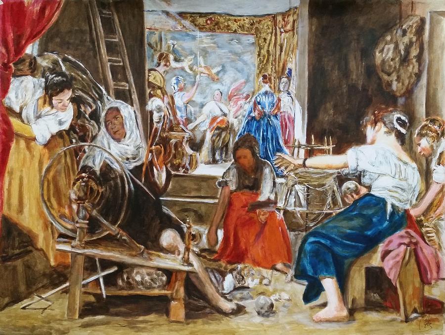 Arachne Painting - Las Hilanderas. Study by Bachmors Artist