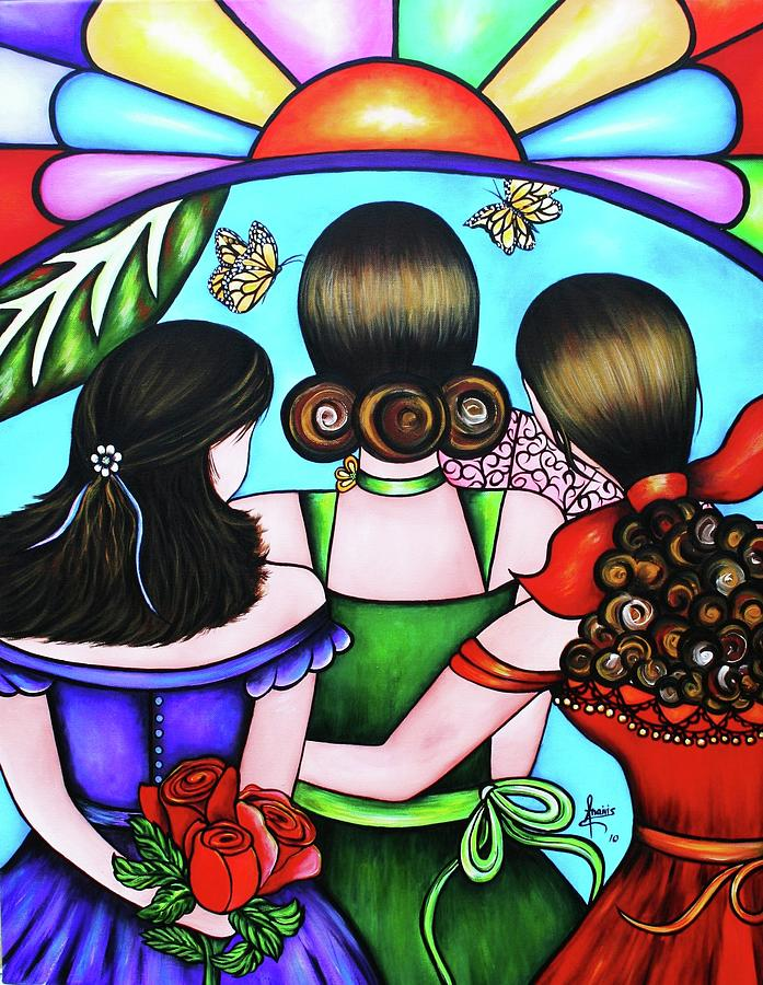 Woman Painting - Las Tres Rosas by Annie Maxwell