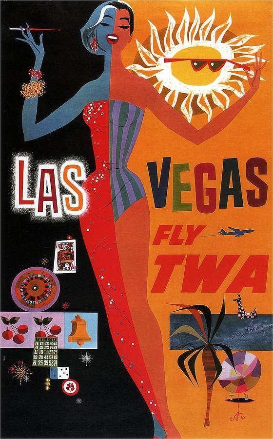 Las Vegas, Fly Twa - Retro Travel Poster - Vintage Poster Mixed Media
