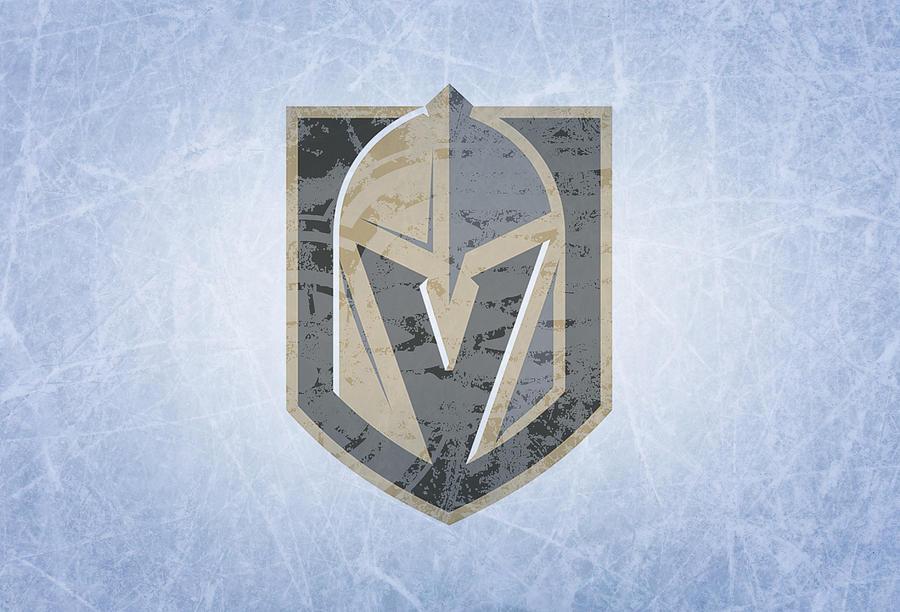 Las Vegas Mixed Media - Las Vegas Golden Knights Vintage Hockey At Center Ice by Design Turnpike