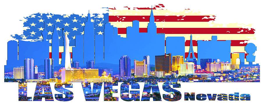 Golden Gate Bridge Digital Art - Las Vegas Nevada Skyline by Don Kuing