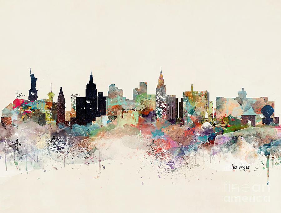 Las Vegas Skyline Painting By Bri Buckley