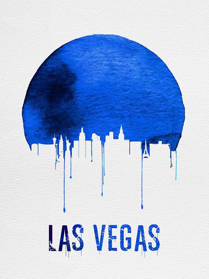Las Vegas Painting - Las Vegas Skyline Blue by Naxart Studio