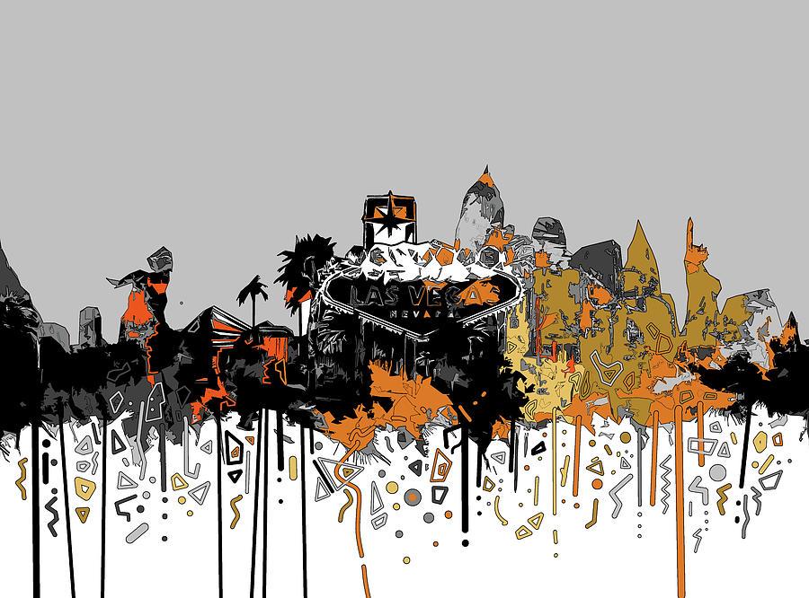 Las Vegas Skyline Comic Design Digital Art