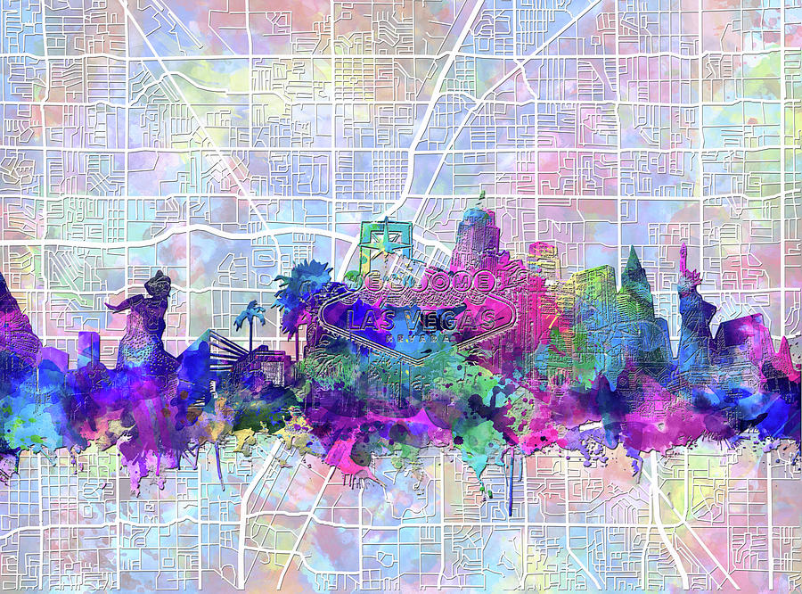 Las Vegas Skyline Map Digital Art