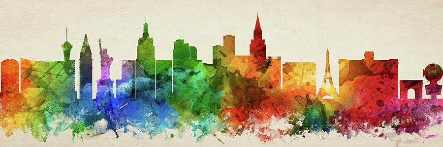 Las Vegas Digital Art - Las Vegas Skyline Panorama Usnvlv-pa03 by Aged Pixel