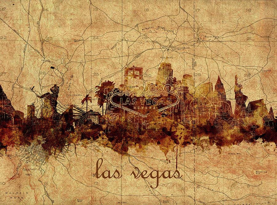 Las Vegas Skyline Vintage 4 Digital Art