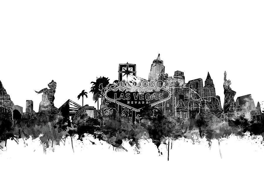 Las Vegas Skyline White Digital Art