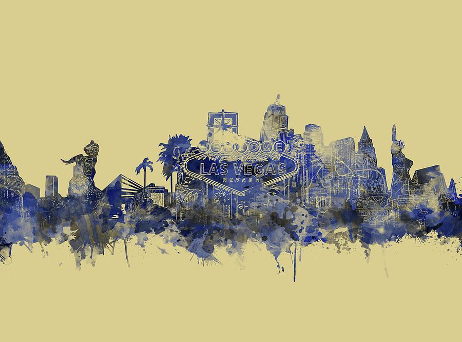 Las Vegas Skyline Yellow Blue Digital Art