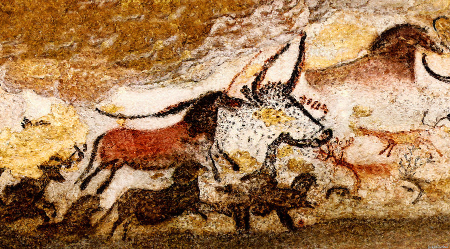 Lascaux Hall of the Bulls - Horses and Aurochs by Weston Westmoreland