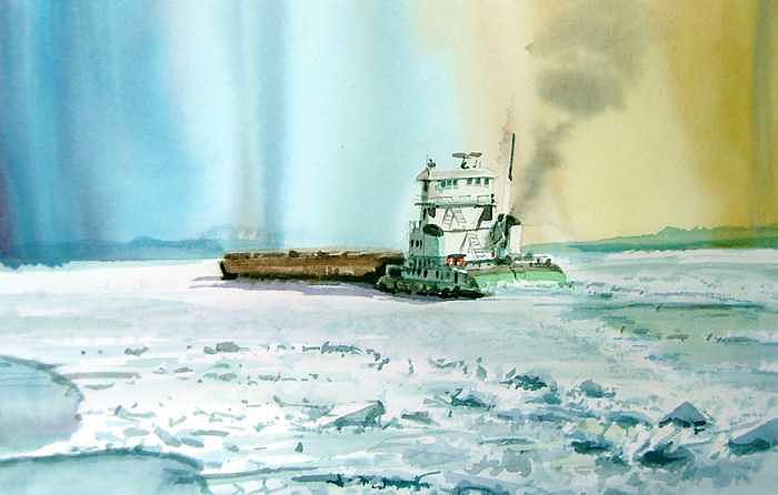 Last Barge Before Winter Painting by William Hay