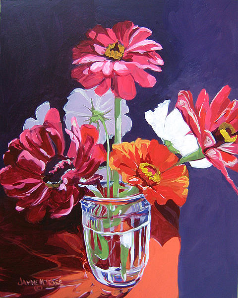 Floral Painting - Last Blooms Of Summer Sold by Jayne Rose